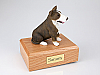 Bull Terrier, Brindle/White  Sitting Dog Figurine Urn
