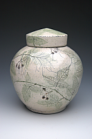Small Blackberry Raku Cremation Urn