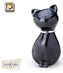Jeweled Ebony Cat Cremation Urn