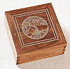 Hardwood Cremation Urn with Silver Inlay Tree of Life