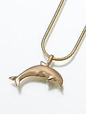 14K Gold Dolphin Keepsake Pendant Cremation Urn