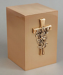 Cross with Roses Bronze Cremation Urn