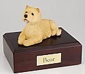 Cairn Terrier Tan Laying Dog Figurine Cremation Urn