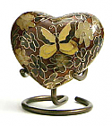 Golden Butterfly Heart Keepsake Cloisonne Cremation Urn