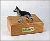 German Shepherd, Black/Silver Standing  Dog Figurine Cremation Urn
