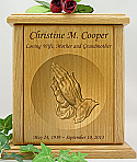 Praying Hands Relief Carved Wood Cremation Urn