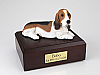Basset Hound White-BurlyWood -Black Laying Dog Figurine Cremation Urn