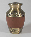 Etched Leaf Red Brass Cremation Urn Keepsake