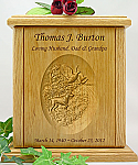 Bird Hunting Relief Carved Wood Cremation Urn