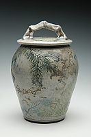 Forest Crackle Raku Urn