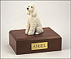 Poodle, White Sitting Dog Figurine Cremation Urn