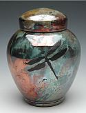 Dragonfly Raku Cremation Urn