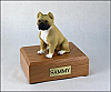 Pit Bull, Tan-White Dog Figurine Cremation Urn