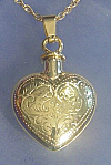 Gold Etched Heart Keepsake Cremation Urn