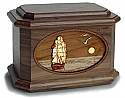 Sailing Home Wood Cremation Urn