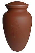 Terracotta Kokopelli Cremation Urn
