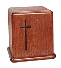 Mahogany Cross Cremation Urn