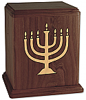 Menorah on Walnut Wood Cremation Urn