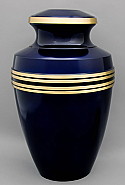 Deep Blue Brass Cremation Urn