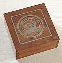 Hardwood Cremation Urn with Silver Inlay Military