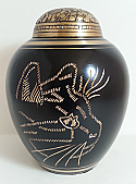 Small Black Etched Cat Brass Cremation Urn