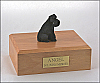 Schnauzer,Deep Black, ears down Dog Figurine Cremation Urn