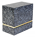 Blue Pearl Granite Double Cremation Urn With Gold Trim