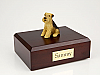 Airedale Yellow-Black Sitting Dog Figurine Cremation Urn