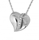 Silver Slider heart with stones Pendant Cremation Urn