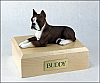 Boxer, Brindle - ears up Black - White Laying Dog Figurine Cremation Urn
