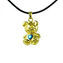 Gold bear with blue mother of pearl stone