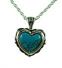 Heart with turquoise stone jewelry urn