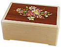 Wood Cremation Urn with Floral Inlay