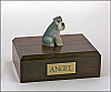 Schnauzer, Gray - ears down Sitting Dog Figurine Cremation Urn