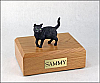 Black, Shorthair Standing Cat Figurine Cremation Urn