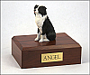 Border Collie Black-White Sitting Dog Figurine Cremation Urn