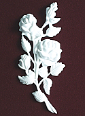 White Marble Rose Stem Cremation Urn Applique