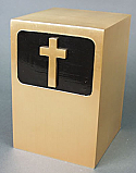 Cross on Black Panel Bronze Cremation Urn