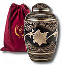 Black Toledo Solid Brass Cremation Urn
