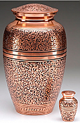 Hand-Tooled Copper Overlay Cremation Urn