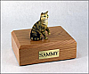 Tabby, Brown, Shorthair Sitting Cat Figurine Cremation Urn