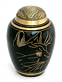 Etched Cat Brass Cremation Urn