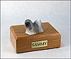 Lhasa Apso, Gray Dog Figurine Cremation Urn
