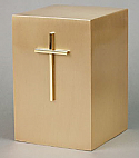 Gold Plated Cross on Bronze Cremation Urn