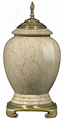 Modern Botticino Marble Urn with Satin Flemish Accents