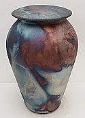 Blue Copper Ceramic Raku Cremation Urn