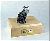 Maine Coon, Silver Tabby  Cat Figurine Cremation Urn