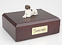 White-Brown German Shorthair Dog Figurine Urn