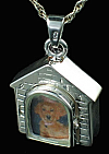 Silver Dog House Cremation Locket