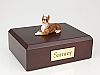 Boxer, Brindle - ears down Light Peru-White Laying Dog Figurine Cremation Urn